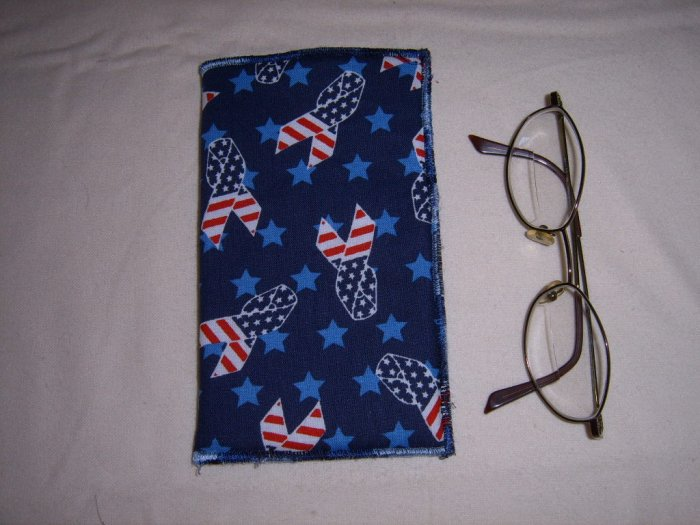 SUPPORT OUR TROOPS HANDMADE EYEGLASS HOLDER PATRIOTIC RIBBON FABRIC AND BLUE FLANNEL LINING