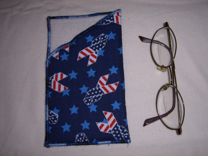 HANDMADE SUPPORT OUR TROOPS EYEGLASS HOLDER PATRIOTIC RIBBON AND OFF WHITE FLANNEL LINING