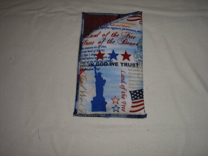 HANDMADE SUPPORT OUR TROOPS PATRIOTIC PRINT WIDE SIZE EYEGLASS HOLDER RED LINING