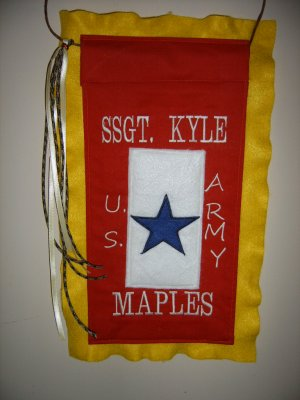 HANDMADE PERSONALISED MILITARY BLUE STAR BANNER