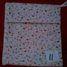 HANDMADE MEDIUM  ALL OVER KITTY FISH BONE PRINT MICROWAVE POTATO BAG