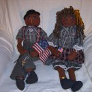 SUPPORT OUR TROOPS HANDMADE BLACK DOLL ANGELS 22 INCH LENGTH WITH BIRTH CERTIFICATES
