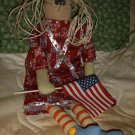 HANDMADE 22 INCH PATRIOTIC 9-11 SUPPORT OUR TROOPS DOLLWITH BIRTH CERTIFICATE