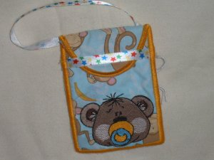 PACIFIER HOLDER WITH MACHINE EMBROIDERY DESIGN STAR RIBBON STRAP BLUE MONKEY COTTON FABRIC