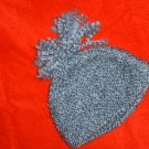 HANDMADE KNITTED BLUE GRAY TWEED HAT  WILL FIT  FROM CHILD TO ADULT