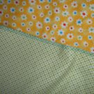 REVERSIBLE HANDMADE CRIB SIZE BABY BLANKET YELLOW FLOWERS & GREEN CHECK