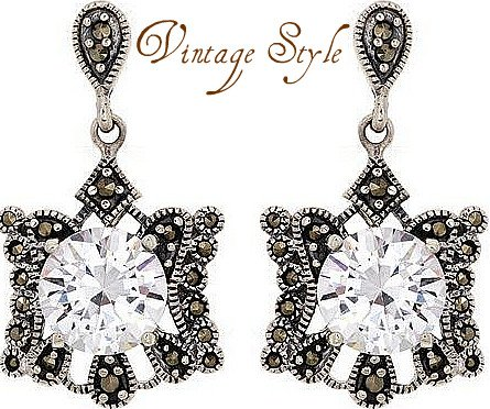 Beautifully Designed Elegant Earrings With 11.60ctw Marcasites and Cubic zirconia