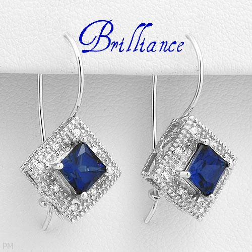 10K Gold Dainty Earrings With Clean Diamonds and Created Sapphires