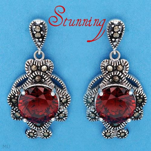 Elegant Earrings With 11.60ctw Marcasites and Cubic zirconia