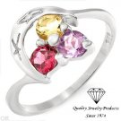 Colorful Three-stone Ring With 0.50ctw Genuine Amethyst and Genuine Citrine Crafted