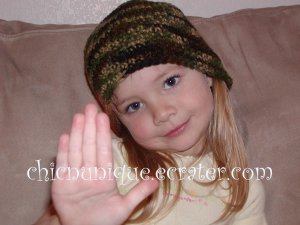 Crochet Army -Military- Green Camoflauge Beanie *Any Size Available*