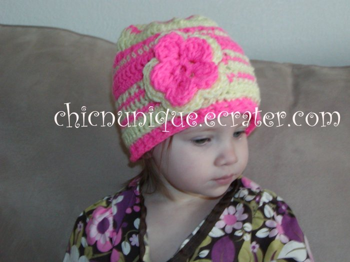 Boutique Crochet Pink & Yellow Cap With Double Flower *Any Size Available*