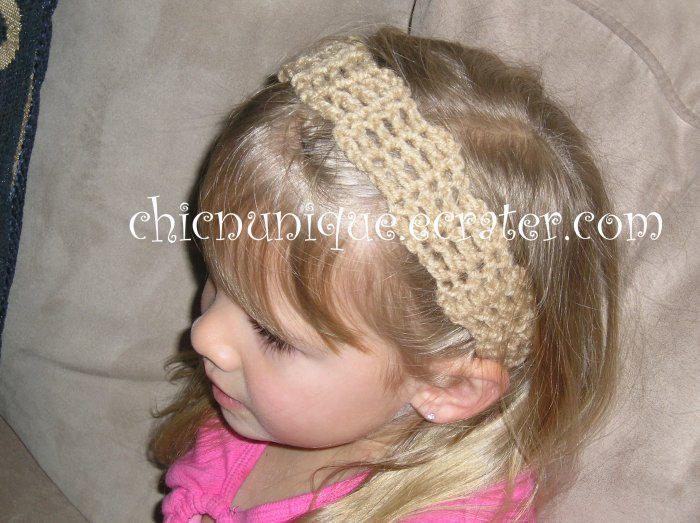 "Crochet *Tan* Headband *compatible for clips* Fits 16""-22"""