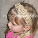 Crochet *Tan* Headband *compatible for clips* Fits 16&quot;-22&quot;