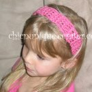 "Crochet *Light Rasberry* Headband *compatible for clips* Fits 16""-22"""