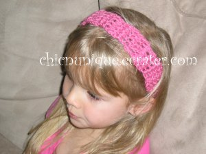 "Crochet *Light Rasberry* Headband *compatible for clips* Fits 16""-22"""