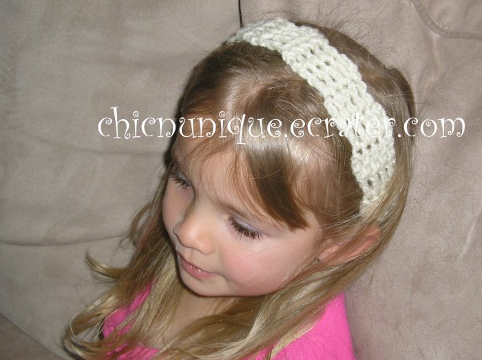 "Crochet *Cream* Headband *compatible for clips* Fits 16""-22"""