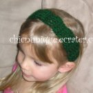 "Crochet *Hunter Green* Headband *compatible for clips* Fits 16""-22"""