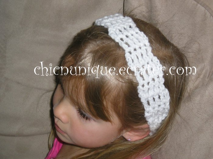 "Crochet *White* Headband *compatible for clips* Fits 16""-22"""