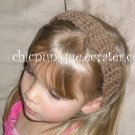 "Crochet *Light Brown* Headband *compatible for clips* Fits 16""-22"""