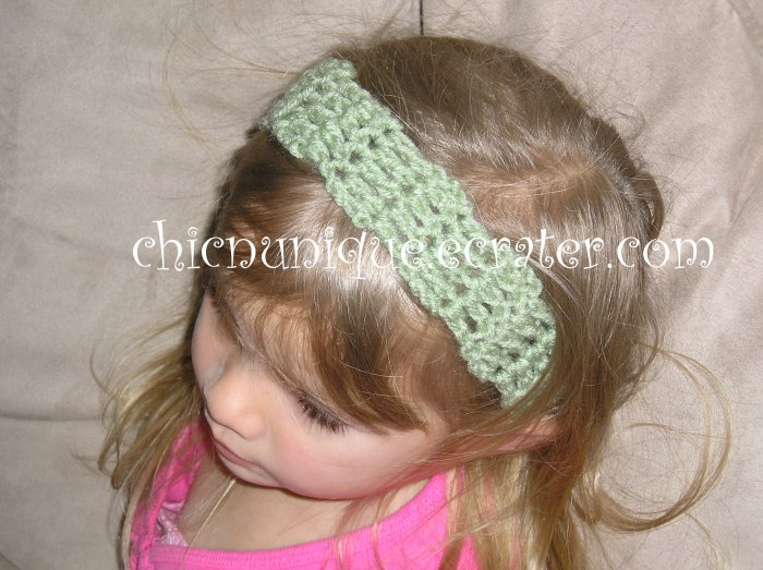 "Crochet *Sage Green* Headband *compatible for clips* fits 16""-22"""