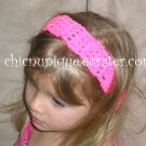 "Crochet *Neon Hot Pink* Headband *compatible for clips* Fits 16""-22"""
