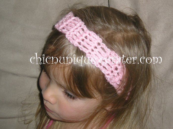 """Crochet *Baby Pink* Headband *compatible for clips* Fits 16""""-22"""""""