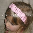 "Crochet *Baby Pink* Headband *compatible for clips* Fits 16""-22"""