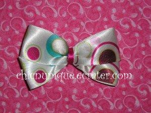 Adorable Boutique Multi-Colored Circles & Bubbles Satin Bow on an alligator clip
