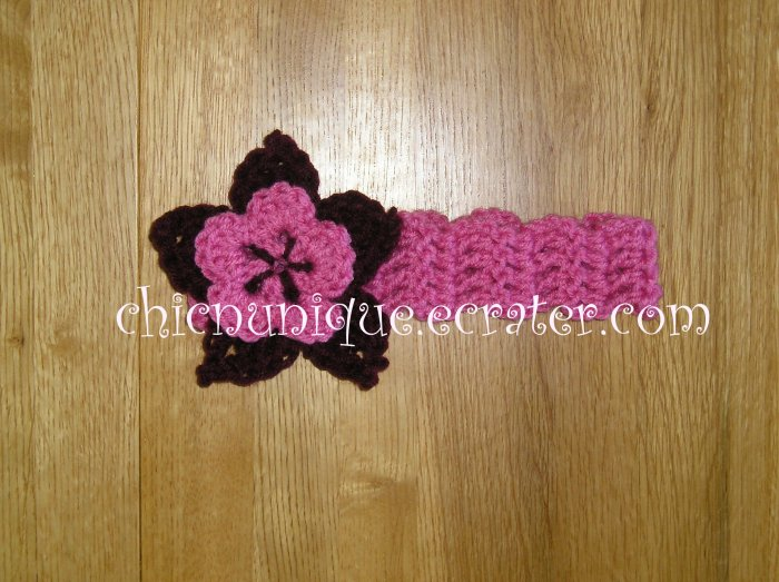 New! Crochet *Light Rasberry* Headband Set with a Removable Crochet Flower Clip *FREE SHIPPING*