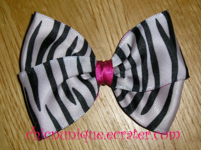 New! Hot Pink & Zebra Print Hair Bow on Clip of Your Choice