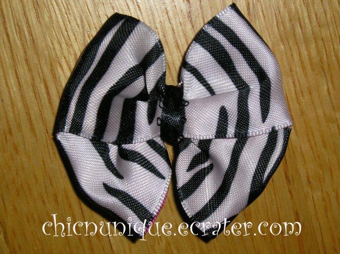 New! Zebra Print Hair Bow on Your Choice of Clip