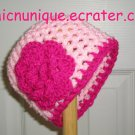 Brand New Couture Baby Pink & Hot Pink Crochet Hat With Flower *Any Size Available*
