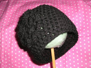 Baby Toddler Crochet Black Flower Photo Hat Beanie *Any Size Available*