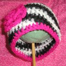 HOT PINK ZEBRA Crochet Flower Photo Hat Beanie *Any Size Available*