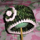 PINK ◘ GREEN CAMO◘ Crochet Flower Photo Hat Beanie *Any Size*