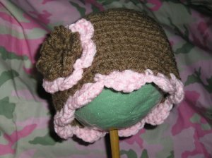New Brown & Pink Sundae Hat With Double Flower *Any Size*