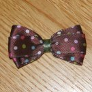 "New! Brown With Polka Dots 2.5"" Hair Bow"