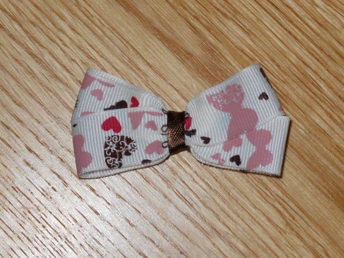 "New! Butterflies & Hearts Mauve & Brown Toned 2.5"" Hair Bow"