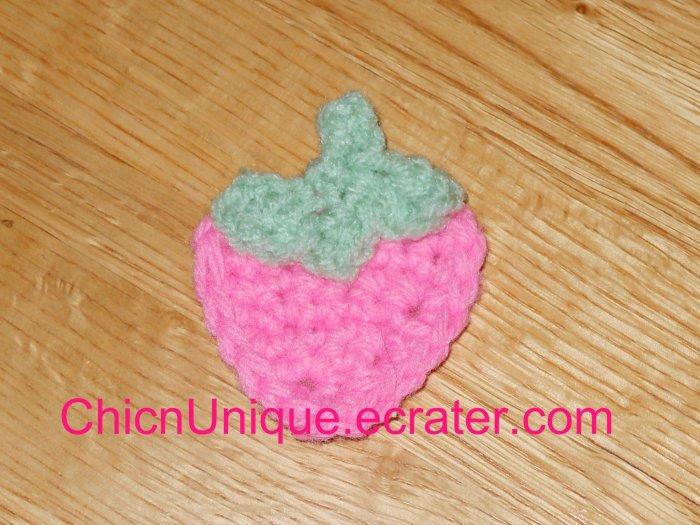 New! Handmade Crochet Boutique Bubble Gum Pink Strawberry Hair Clip