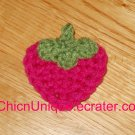 New! Handmade Crochet Boutique Hot Pink Strawberry Hair Clip