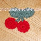 New! Adorable Crochet Double Cherry Cherries Hair Clip