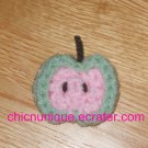 Mini Crochet Pink & Green Apple Chip Slice Hair Clip