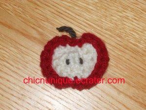 Mini Crochet Red & Cream Apple Chip Slice Hair Clip