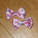 Adorable Pink Hello Kitty Satin Hair Bows Set of 2