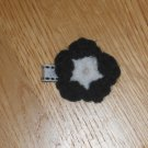 Mini Crochet Flower Hair Clip *Black & White* 1.75""
