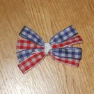 Red, White, & Blue Gingham Checkered 4th of July Hair Bow