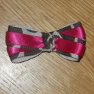 Hot Pink & Brown Giraffe Zebra Print Boutique Hair Bow *Knotted Center*
