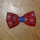 Red & White Flowers, Blue & White Polka Dot 4th of July Hair Bow 2.5""