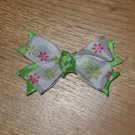Spring Lime Green & Hot Pink Flowers & Polka Dots Boutique Hair Bow